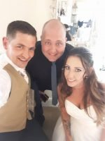 Mark the Piano Guy with his Bride and Groom and a fantastic Eaves Hall Lancashire wedding