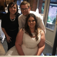 Mr and Mrs Knight with Liz Hendry wedding pianist on their wedding day at Bartle hall