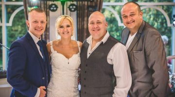 Pictured is Mr and Mrs Seddon aka The Bride and Groom with Mark Hendry and Alan Wood of Mark Hendry's lLive Piano Experience wedding party band