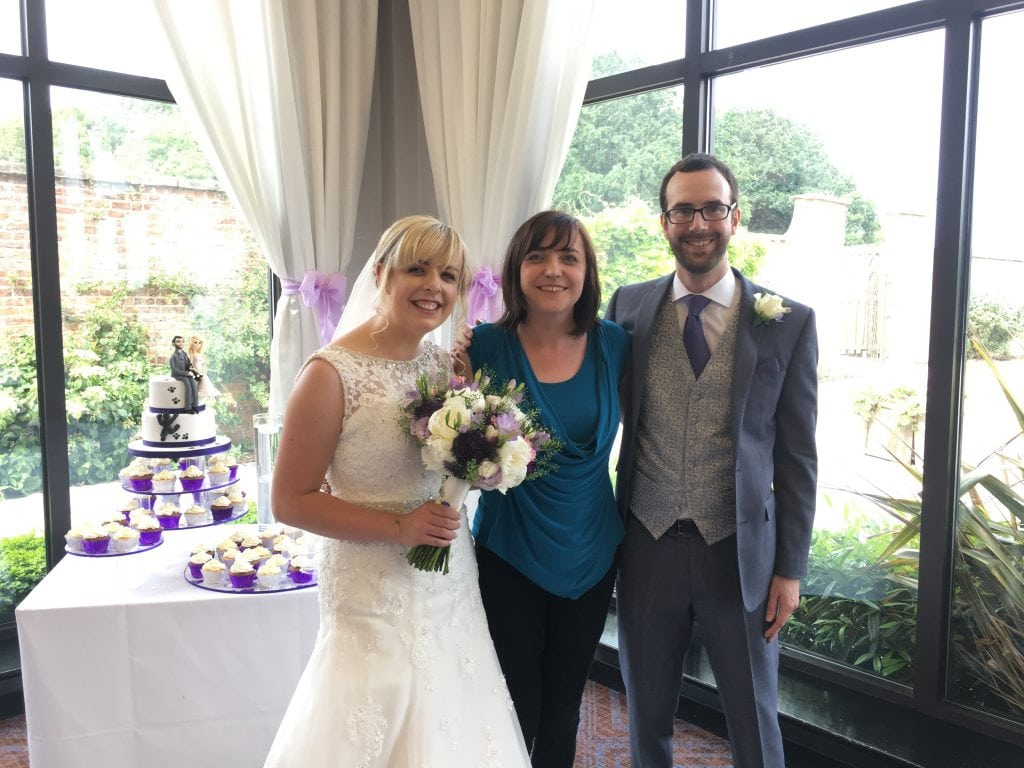 Liz Hendry wedding pianist seen here with Mr & Mrs buttery at Rookery hall