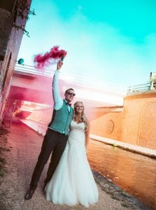 Pictured is Mr and Mrs Langley having their wedding photos at Victoria Warehouse