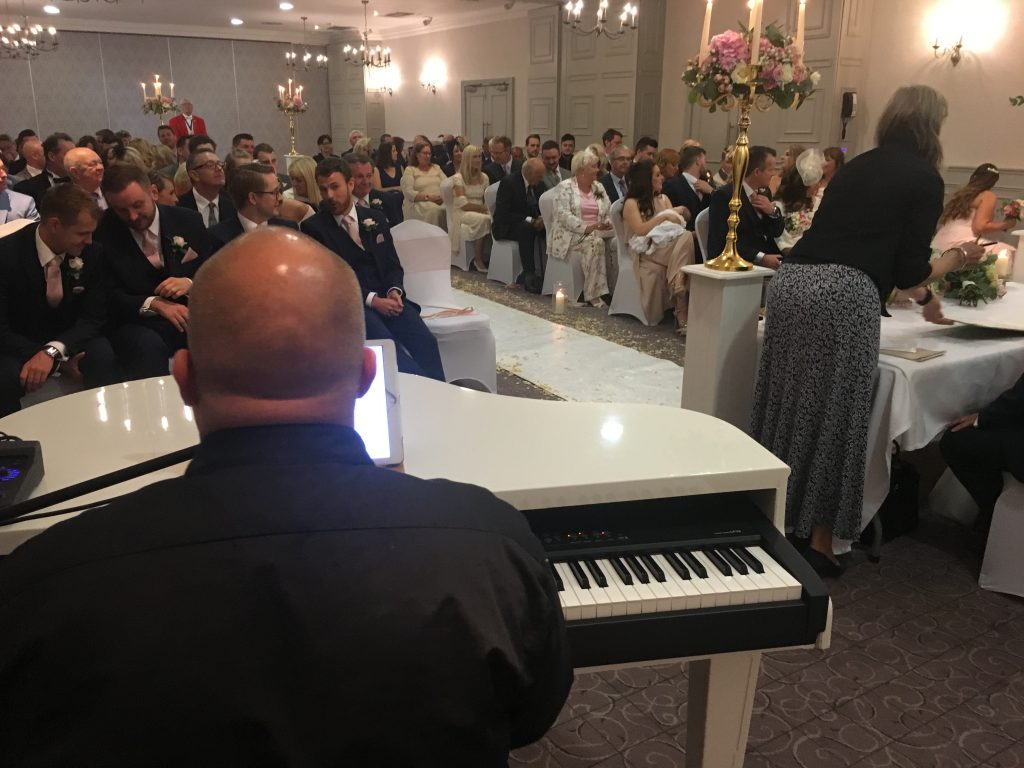 Mark the piano Guy playing a ceremony at Mottram Hall - Live Piano Ltd