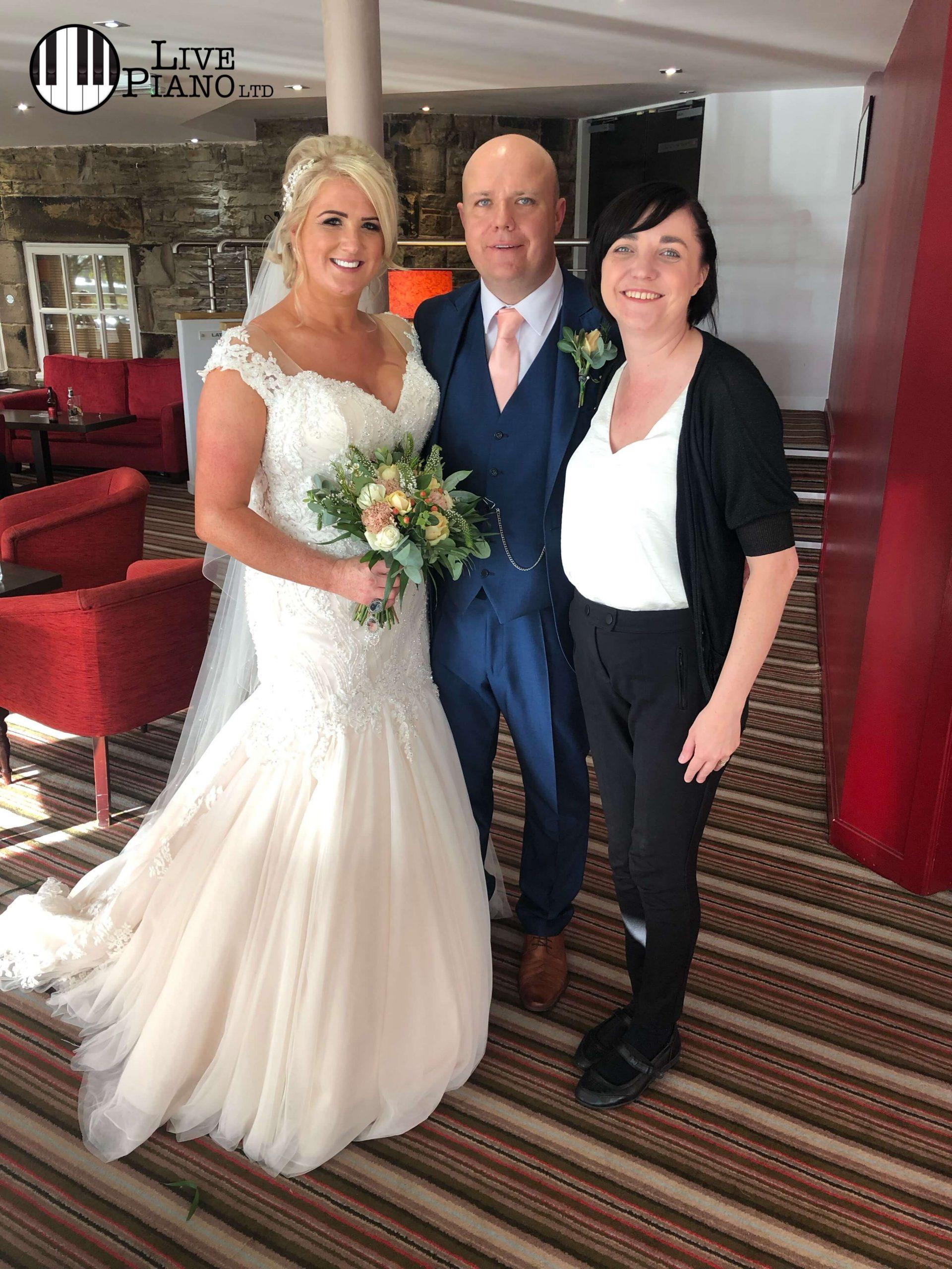 Liz Hendry Wedding Pianist with Mr & Mrs Croaker at Lancashire Manor