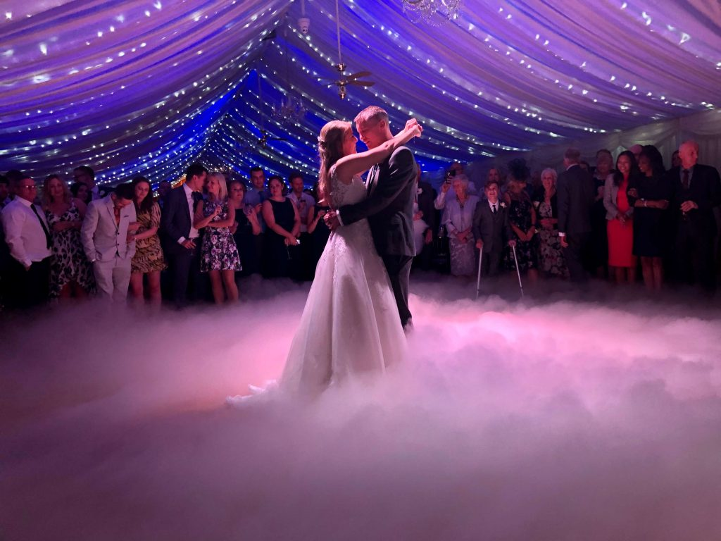 Nicola and Johnny Dancing on clouds for their first dance at Heaton House Farm with PianoJam