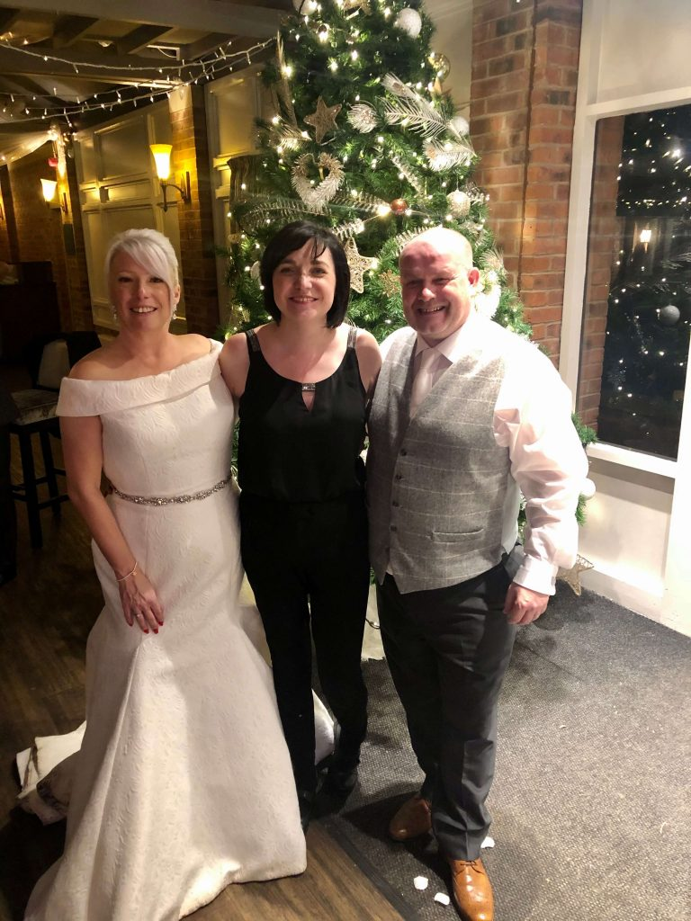 Mr an Mrs Robertson at Bartle Hall with Liz Hendry wedding Pianist